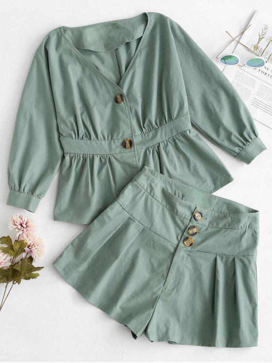 lady ZAFUL Buttoned Top and Loose Shorts Set - DARK SEA GREEN L
