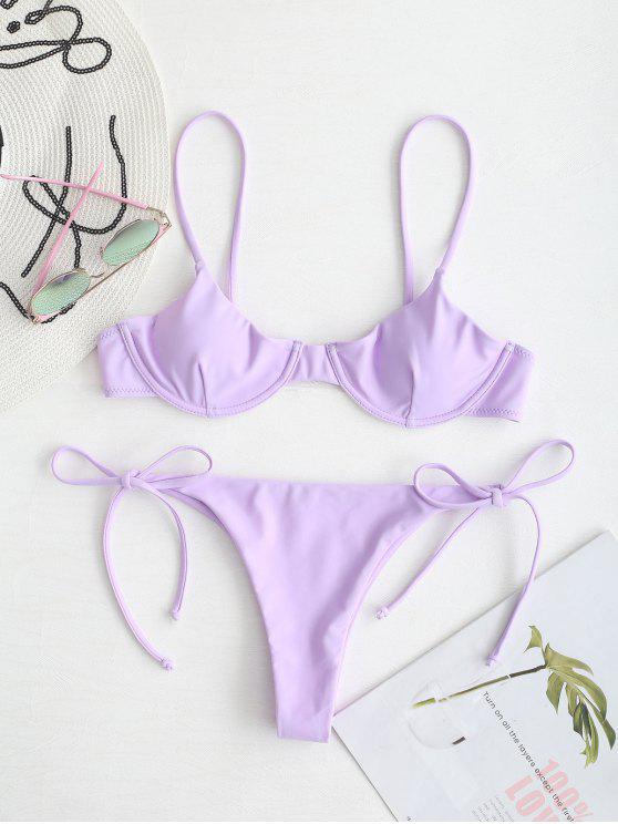 Zaful Tie Underwire Balconette Bikini Set   Mauve S by Zaful