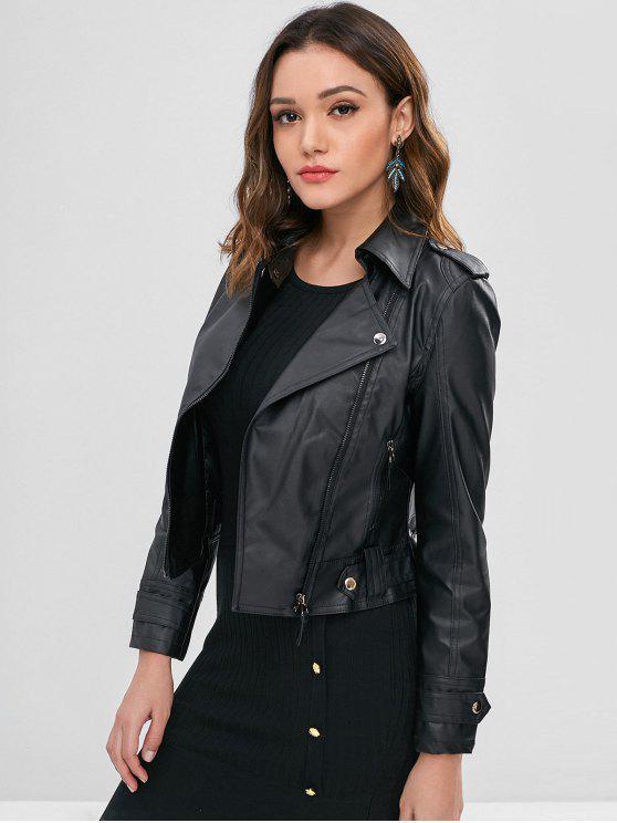 unique Faux Leather Biker Zip Up Jacket - BLACK L