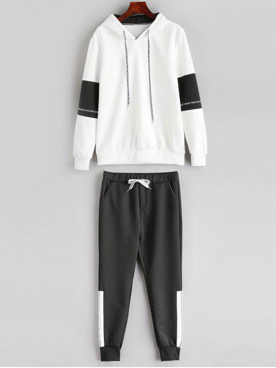 trendy Contrast Letter Hoodie Sweatpants Suit - WHITE XS