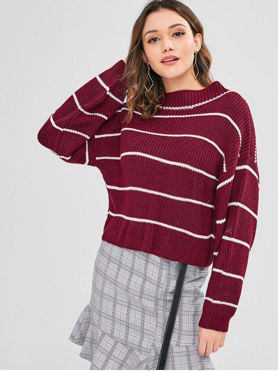 ZAFUL Lantern Sleeve Contrasting Striped Sweater - Ladrillo Refractario Talla única