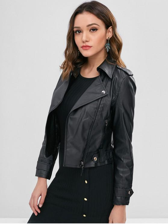 fancy Faux Leather Biker Zip Up Jacket - BLACK XL