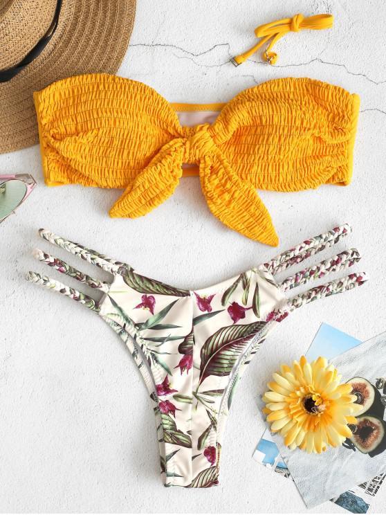 c7926d71df 23% OFF  2019 ZAFUL Shirred Leaf Braided Bandeau Bikini Set In ...