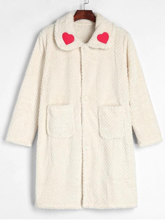 trendy Button Front Winter Faux Fur Fluffy Bathrobe - WARM WHITE M