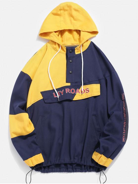 fancy Color Block Letter Patch Pullover Jacket - BLUE L