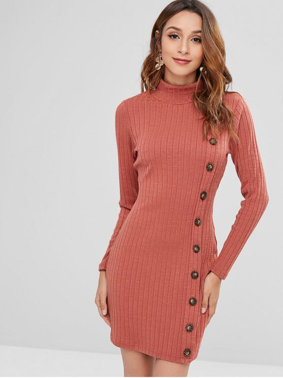 lady ZAFUL High Neck Buttoned Short Knit Dress - CHESTNUT RED M