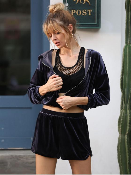 shops ZAFUL Drop Shoulder Velvet Jacket - JET GRAY L