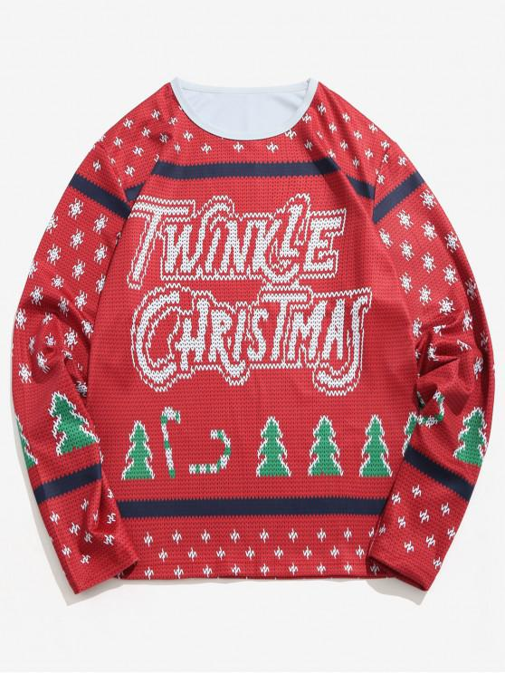 Carta de Árvore de Natal de Malha Imprimir T-shirt - Vinho Tinto XL