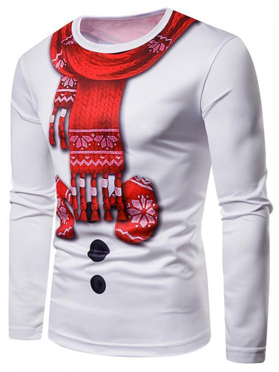 trendy Christmas 3D Print Long Sleeves Tee - WHITE 2XL