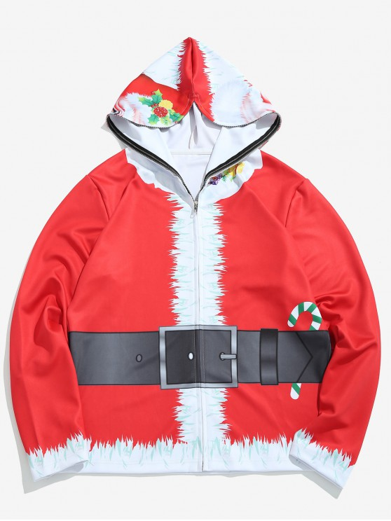 fashion Santa Mask Full Face Zip Hoodie - LAVA RED L