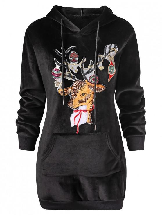 Christmas Elk Applique Kangaroo Pocket Velvet Hoodie - Negru M
