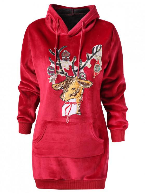 Christmas Elk Applique Kangaroo Pocket Velvet Hoodie - Vin rosu 2XL
