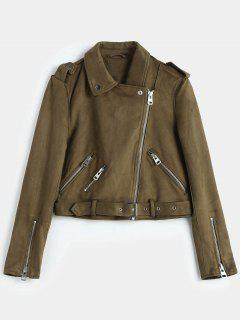 Belted Zipped Faux Suede Biker Jacket - Coffee M