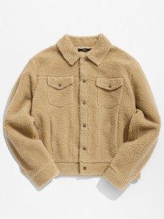 ZAFUL Snap Button Pocket Fluffy Jacket - Camel Brown 2xl