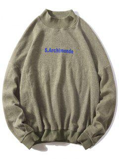 Loose Letter Pullover Casual Sweatshirt - Light Khaki L
