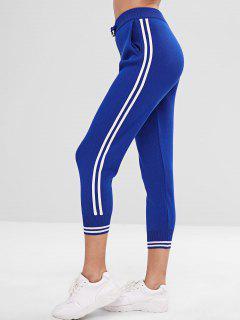 Drawstring Side Striped Jogger Pants - Blue