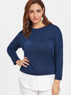 Camiseta Con Túnica De Dos Tonos En Talla Grande De Bolsillo - Azul De Medianoche 4x