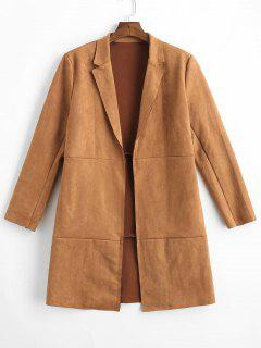 Open Front Raw Cut Faux Suede Coat - Brown L