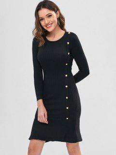 Buttoned Mermaid Sweater Dress - Black
