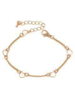 Heart Shaped Chain Bracelet - Gold