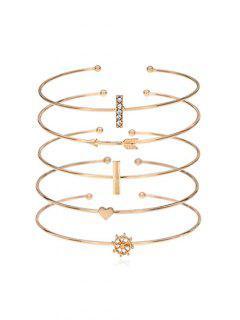 Rhinestone Inlaid Heart Arrow Alloy Cuff Bracelet Set - Gold
