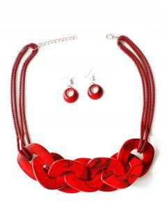 Geometry Joint Decoration Pendant Necklace With Hook Earrings - Ruby Red