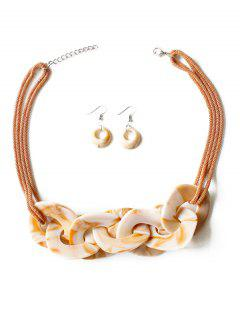 Geometry Joint Decoration Pendant Necklace With Hook Earrings - Sandy Brown