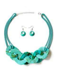 Geometry Joint Decoration Pendant Necklace With Hook Earrings - Light Sea Green