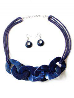 Geometry Joint Decoration Pendant Necklace With Hook Earrings - Cobalt Blue