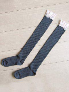 Cute Vertical Striped High Knee Socks - Slate Gray