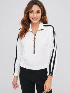 Zip Up Corduroy Sweatshirt - White