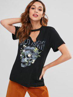 Halloween Skull Cut Out Embroidered Tee - Black M