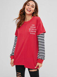 Striped Sleeve Oversized Tunic Sweatshirt - Red M