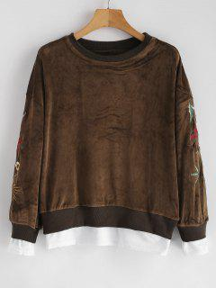 Floral Patched Faux Twinset Sweatshirt - Dark Khaki