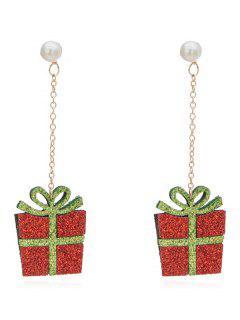 Novelty Gift Box Christmas Party Earrings - Mahogany