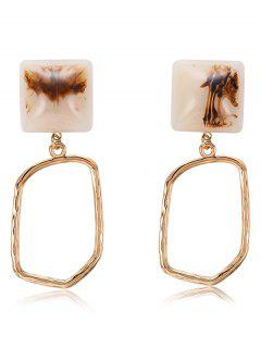 Irregular Geometry Dangle Earrings - Champagne