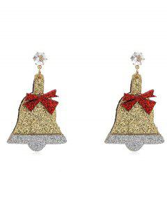 Christmas Bell Rhinestone Party Earrings - Gold