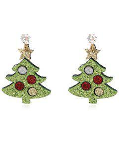 Pendientes De Fiesta De Diamantes De Imitación Del árbol De Navidad - Verde De Ensalada