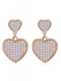Heart Shapr Straw Woven Drop Earrings - White