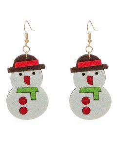 Cute Snowman Party Drop Earrings - White