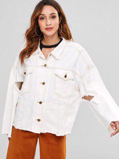 Cut Out Denim Jacket - White M