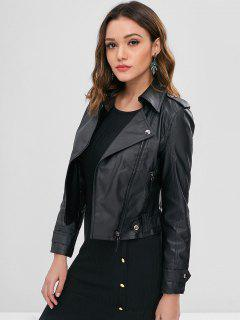 Faux Leather Biker Zip Up Jacket - Black L