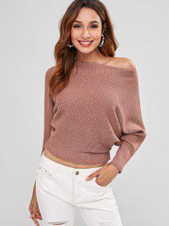 Ribbed Metallic Thread Batwing Sweater - Chestnut