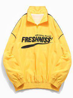 Casual Letter Pullover Windbreaker Jacket - Yellow Xl