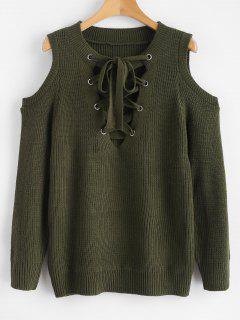 Suéter De Jersey Con Hombros Descubiertos Con Cordones - Verde De Helecho