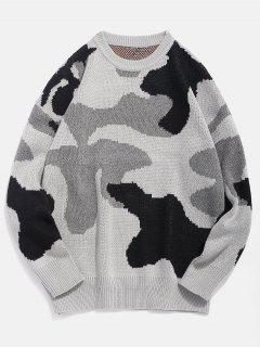 Letter Pattern Camo Knitted Sweater - Black 3xl