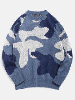 Pull En Tricot à Motif Camo - Bleu De Soie Xl
