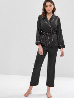 Belted Binding Satin Long Sleeve Pajama Set - Black Xl