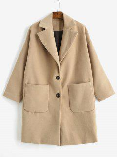 Patch Pocket Oversized Faux Wool Coat - Camel Brown S