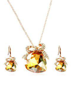 Artificial Crystal Heart Design Bowknot Necklace Earrings - Yellow